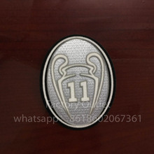 10 pcs a lot ucl 11 Times Trophy Soccer patch Champions League badge Cashmere material velvet(China)