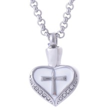 316L Stainless Steel Religious Cross Eternanity Cremation Necklace Memorial Heart Jesus Pendant Jewelry Can be engraved(China)