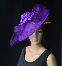 NEW Purple Large sinamay hat saucer fascinator hat Silk flower fascinator veiling fasinator  for races,wedding,church,party.