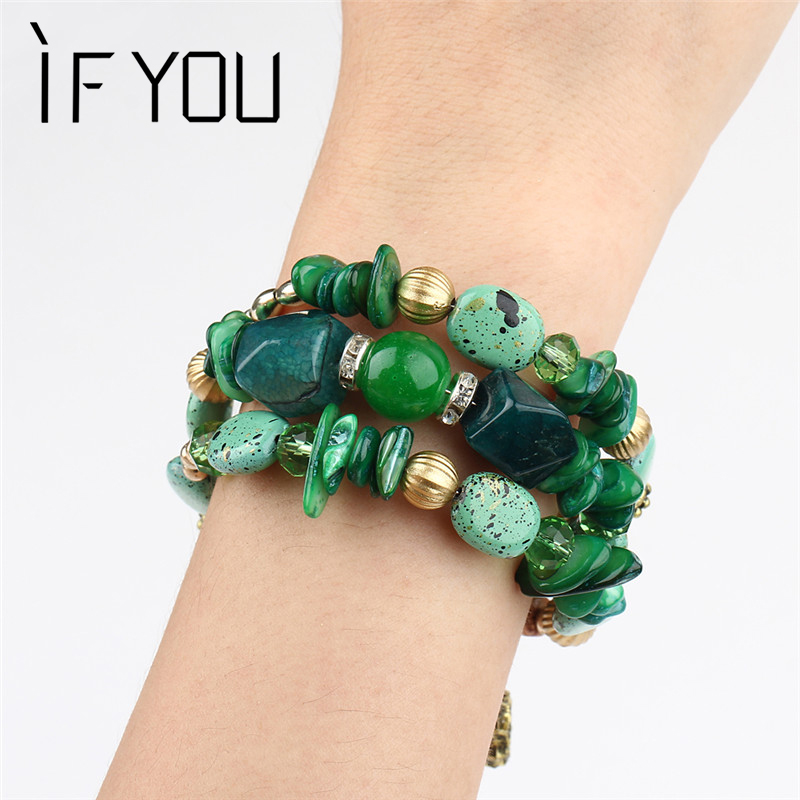 IF YOU Multilayer Bohemian Beads Crystal Charms Bracelets Women Ethnic Tibet Imitation Natural Stone Bracelets &Bangles Gift