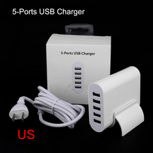 5 Ports Wall USB Charger Travel Adapter for USA E.U. Australia Plug 5V 8A*5 For iPhone Samsung Sony LG Smartphone Charge Socket