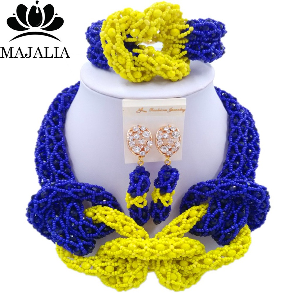 Majalia New Fashion Nigerian Wedding African Jewelery Set Royal blue and Yellow Crystal Necklace Bridal Jewelry Set 2RF011