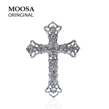 MOOSA Trendy Christian Jesus Broches with Crystal Rhinestone Cross Pattern Brooches and Pins for Dresses Suits Scarfs(China)