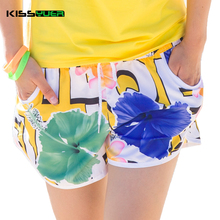 KISSyuer Quick-drying Drawstring Ink and wash painting flowers couple shorts women board shorts KBS1020