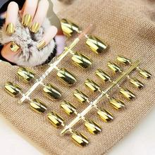 24pcs Good Quanlyty Acrylic Nail Tips Punk Style Metallic Metal Shiny Golden Color Fake False Nails Short Size S05(China)