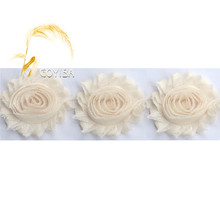 "1 Yard 2.5"" Cream Color Frayed Shabby Rose Flower Rosette Mesh Lace Trim Kids Headband Hair Band Bridal Wedding Dress DIY Sewing(China)"