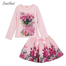 New Fashion 2017 domeiland Outfits Sets For Cute Kids Girl Print Floral Long Sleeve Shirts Tops+Tutu Skirts Sets Bow Clothes