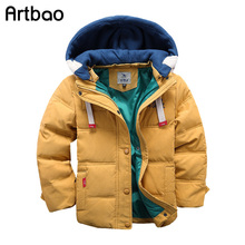Artbao 2017 New children Down & Parkas 4-10T winter kids outerwear boys casual warm hooded jacket for boys solid boys warm coats