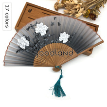 Free Shipping 1pcs New Cheap Flower Floral Fabric Hand Fan High Quality Bamboo Silk Pocket Fan Christmas Gift Decoration Mariage(China)