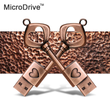 Copper Love Shape Key USB 2.0 Pen Drive u disk 64gb 32gb 16gb 8gb 4gb usb flash drive memory stick