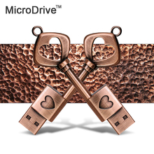 Copper Love Shape Key USB 2.0 Pen Drive u disk 64gb 32gb 16gb 8gb 4gb usb flash drive memory stick(China)