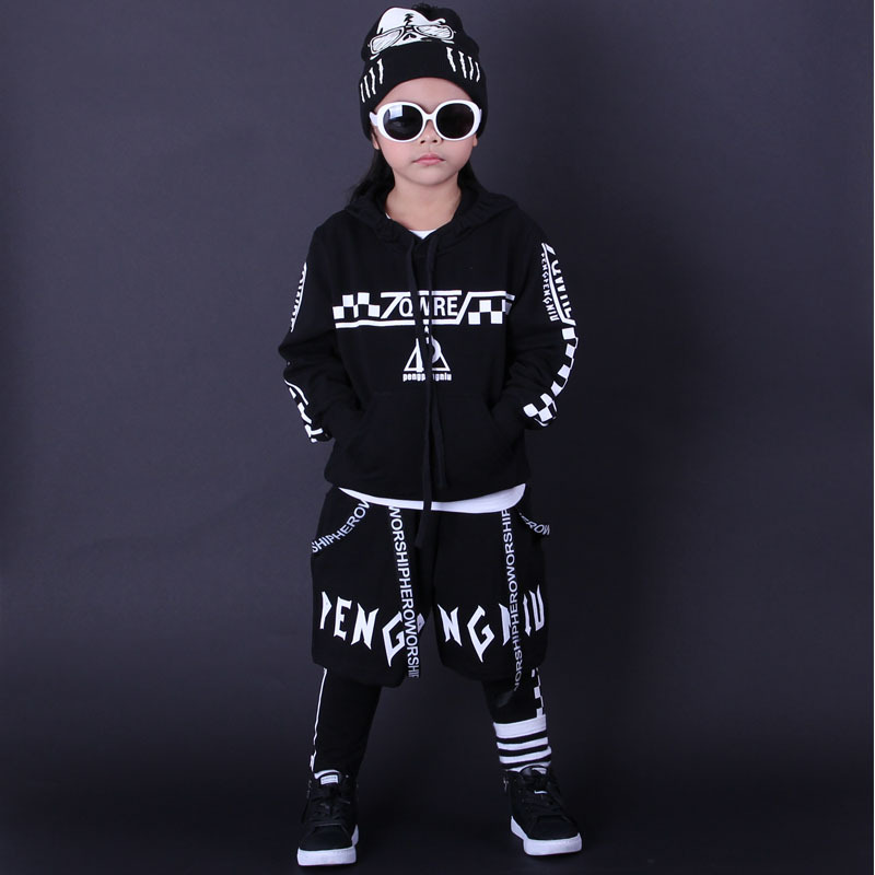 3 Pieces Set Cool Teenage Boys Clothing Sets Printed Sport Suit For Boy Pullover Hooded Coats + Cross Pants 3Pcs Kids Tracksuits<br>