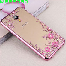 "Silicone Case For Meizu M5C Cover M710H Flower Bling Diamond Soft TPU Clear Phone Cases For Meizu M5C M5 C M 5C M710H 5.0"" Coque(China)"