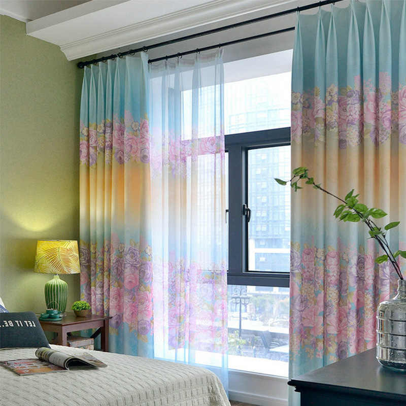 Pink/Blue Princess Curtains For Child Bedroom Flower Curtains Fabric For Baby Girls Room High Shading Cortinas Home Decoration