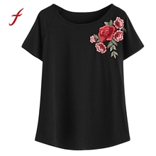 2017 women's T-shirts Fashion top Summer female T-shirt Rose Embroidered t shirt Vintage t-shirt Short Sleeve Tops(China)