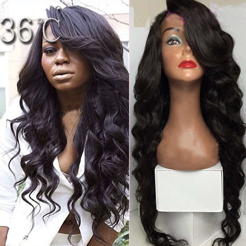 180 Density Mongolian Wavy Lace Front Wig 8A Wavy Lace Wigs Virgin Human Hair With Bangs Glueless Wavy Full Lace Wig Black Women<br><br>Aliexpress