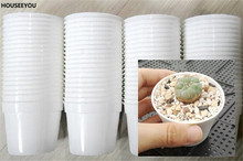 50Pcs White/Black Plastic Flowers Plants Seedlings Nursery Pots Garden Tools 6.5X5.5cm Flowerpot(China)