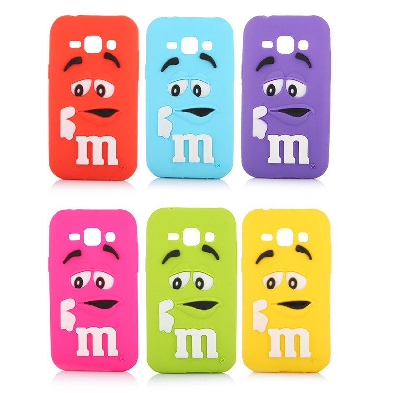 2016 J1 Cute Lovely 3D Cartoon Chocolate Beans Soft Silicone Back font b Case b font