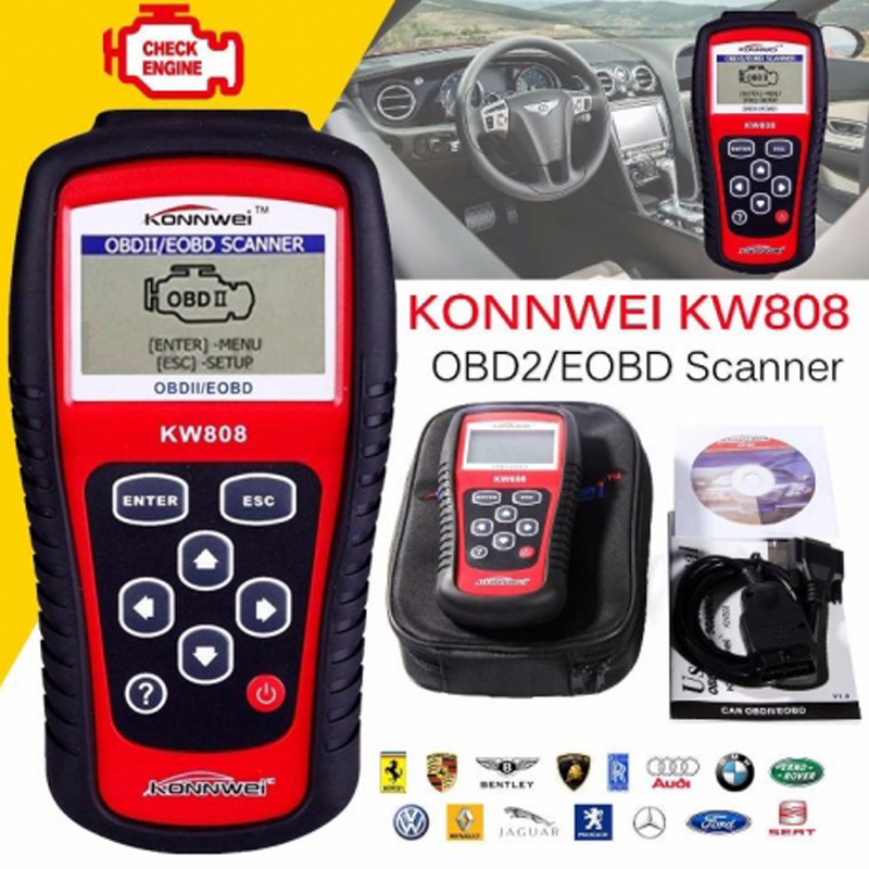 Multi-languages OBD2 Scanner KW808 Car Diagnostic Code Reader CAN Engine Reset Tool KONNWEI Auto Scanner Coverage<br><br>Aliexpress