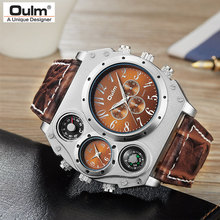 New Model OULM Watch Men Quartz Sports Leather Strap Watches Fashion Male Military Wristwatch Fashion Clock Masculino Relojes(China)