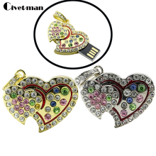 Diamond heart linked to heart Usb Flash Drive 4GB 32GB 16GB 8GB pendrive flash Memory card  pen drive luxury u disk girl gift