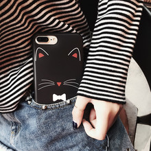 Pink blue black Lovely Cartoon Cute Kitty Phone Case for iPhone 7 7plus 6 6s 6plus 6splus 3D Luckly Cat face Silicon Cases