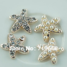 Hot Sale in Stock!50pcs/lot (LO-068) starfish rhinestone button pearl wedding Invitation embellishment Scrapbooking Napkin Ring