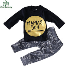 Newborn Baby Clothes Baby Set MAMAS BOY T Shirt And Pants Kids Sport Suit 2Pcs Baby Boy Clothing Spring Children Tracksuit Set(China)