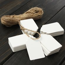 100pcs Kraft Paper Gift Tags Card Wedding White Scallop Label Blank Luggage Mini Paper Card With Strings 3x5cm(China)