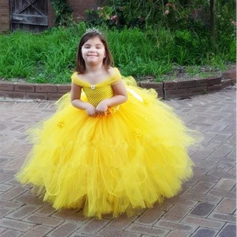 New Girls Yellow Princess Tutu Dress Kids Crochet Flower Tail Dress Ball Gown with Headband Children Wedding Cosplay Party Dress<br>