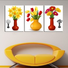 3 Panel Modern Painting Home Decorative Art Picture Paint on Canvas Prints A mixture of daffodils, tulips and chrysanthemums(China)