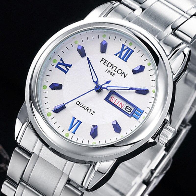 2015 New Man&amp;Women Lovers Quartz Steel Fashion Watch Waterproof Scratch-resistant Men Double calendar casual Wristwatches F460<br><br>Aliexpress