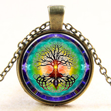 Life Tree Necklace Evil Eye Glass Cabochon Pendant Necklace Statement Necklace gift bronze and silver(China)