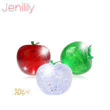 Jenilily CP9003A DIY Funny Pisces Apple Crystal 3D Puzzles with color lights 45pcs best toys for children decoration gift