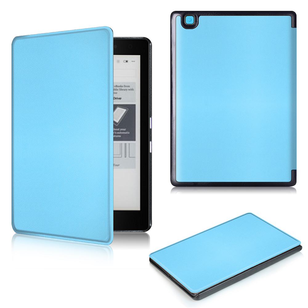 Slim Folio Stand PU Leather Magnetic Skins Cover Protective Case for Kobo Aura Edition 2 6 eReader + protector film + stylus<br>