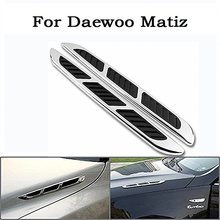 2PCS JDM Style Chrome Plated Exterior Decorative Air Flow Intake Turbo Bonnet Hood Side Vent Cover+3M Tape for Daewoo Matiz