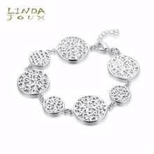 Buy LINDAJOUX Trendy Fine Bracelets Women Luxury Brand Copper Round Chain Silver Color Charm Bracelets Bangles Jewelry H590 for $2.99 in AliExpress store