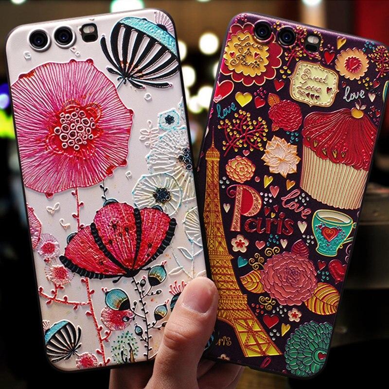 BONVAN Emboss Case For Huawei Honor 9 Lite Case Soft Silicone Honor 8 Pro Lite Cover Relief P10 Plus P8 P9 Lite 2017 GR3 Case