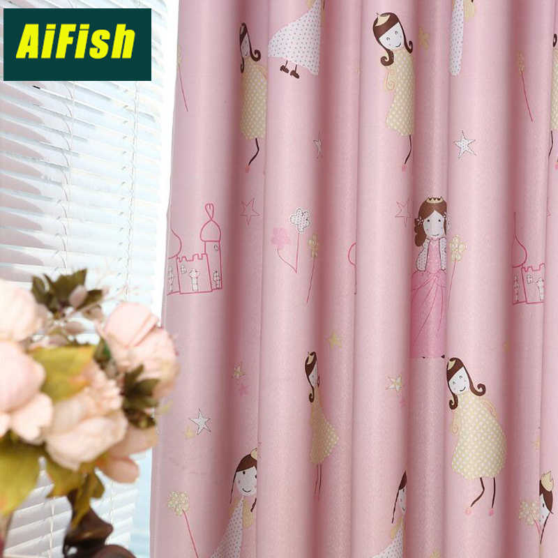 Modern style cartoon Printed jacquard Fresh lively children curtains window customization princess pink curtains wp139#30