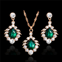 H:HYDE Gold Color Crystal Bridal Jewelry Sets Wedding Party Dress Accessories Fashion Water Drop Jewellery Necklace Earring(China)