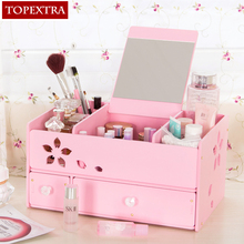 TOPEXTRA Desk Cosmetic DIY Flower MakeUp Jewelry Cosmetic Dresser Drawer Storage Box Organizer Desk Storage Box With a Mirror