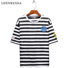 Buy New Fashion Men's T Shirt Summer O-Neck Short Sleeve Stripe T-Shirt Mens Clothing Trend Casual Slim Fit Patch Top Tees M-5XL for $12.97 in AliExpress store