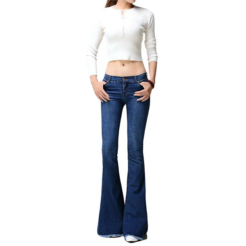 Stretch Patchwork Flare Jeans for Women Bleached High Waisted Wide Leg Jeans Butt Lift Denim Pants Plus Size