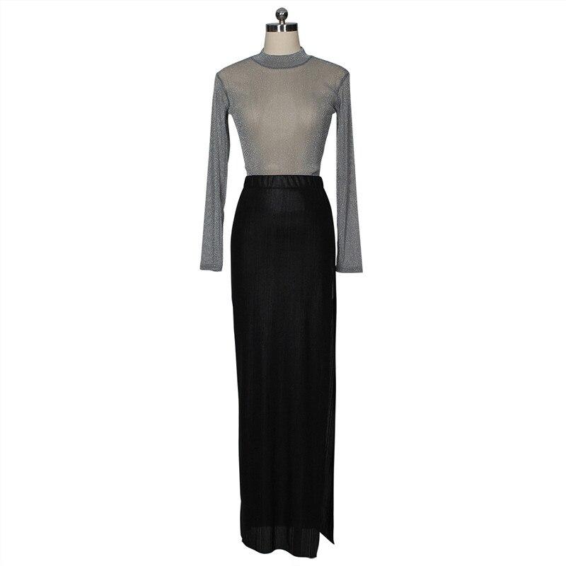 women shiny silver tops and high slit skirt set-7