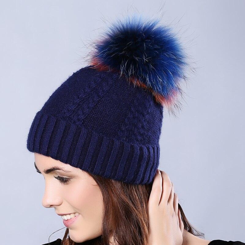 Fashion Brand Autumn Winter Rabbit Wool Blend Knitted Women Skullies Cap Raccoon Fur Pompoms Solid Color Ski Warmth Gorros 18T34Одежда и ак�е��уары<br><br><br>Aliexpress