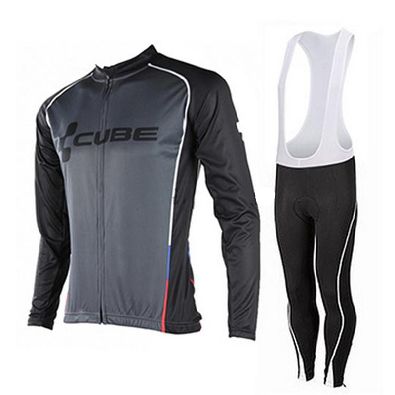 2017 Cube Team Autunm Long Sleeve Cycling Jersey Bicycle Clothing Quick Dry Cycling Clothes Bike Riding Jersey 9D Gel Pad<br>