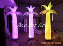 (3pcs)2.4m H RBG LED Ligthing Inflatable palm tree for sale with Base
