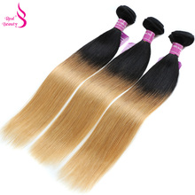 Real Beauty Ombre Human Hair Brazilian Straight Hair Bundles T1B /27 Two Tone Double Weft Remy Hair Weaves Bundles 1 PCs(China)