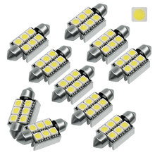 10pcs 36mm 39mm C5W 6 SMD 5050 LED White CANBUS NO Error Free Car License Plate lights Bulb Reading Dome Festoon Lamp Light New