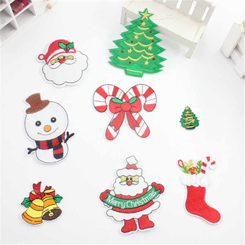 Sewing Clothes Patch Iron On Embroidery Patches Hotfix Applique Motifs Sew  On Garment Stickers Christmas series 43319ad58def